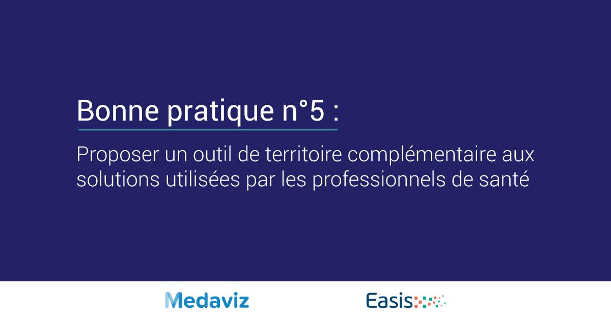 Image de couverture de: Bonne pratique numéro 5 : Proposer un outil de territoire complémentaire aux solutions utilisées par les professionnels de santé